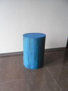 Oak blue stool chair table wood tree stump table by DECORHOLZ