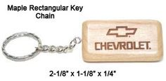 1.45 ea Rectangular Maple Keychain
