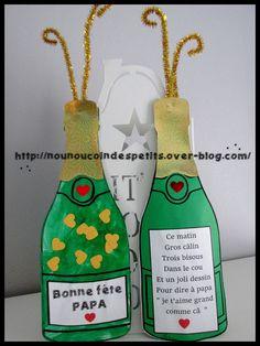 """.. Bouteille de champagne """" bonne fête papa """" .."""