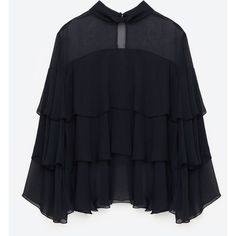 3/4 SLEEVE FRILLY BLOUSE - NEW IN-WOMAN | ZARA United States ($40) ❤ liked on Polyvore featuring tops, blouses, flounce blouse, blue blouse, 3/4 sleeve tops, three quarter length sleeve tops and frill top