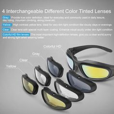 Motorcycle Riding Glasses Kit with 4 lens Colors: Easy swap lens kit (1 full kit with 9 accessories)