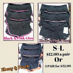 Hinds Women's Athletic Shorts Performance comfort shorts, moves moisture away from your skin, keeps you dry, UV level of protection, Built in Briefs. Sizes S-L colors Ebony/Peach Black/Pink Pizazz Black/Pink Glow NWT, $12 a pair or bundle 3 for $32. Price is firm and these items are not included in any other sale listed in closet. Please do not Purchase from this listing. Comment what you would like and I will make a listing for you. Hinds Shorts