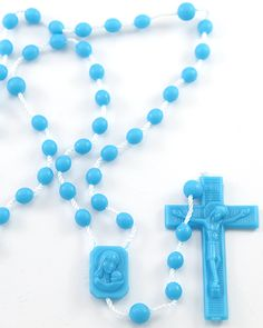 Blue Plastic Rosaries. Unlike other plastic rosaries on the market, ours are made with the latest technology out of high quality nylon, including the string. From that perspective they should not crack or break. (As child safe as can be). We've sold millions of these rosaries and have never had a complaint.
