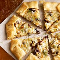 Swiss Olive Galette - gruyere cheese, kalamata olives, leeks, fennel & thyme on a pre-made pie crust...sounds easy and delicious.