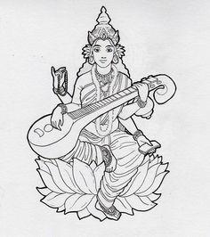 Ausmalen als Anti-Stress Indien : Saraswati 11 Saraswati Goddess, Goddess Art, Saraswati Mata, Durga, Pencil Art Drawings, Art Drawings Sketches, Saraswati Painting, Tattoo Painting, Art Du Croquis