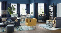 VIMLE 3-zitsbank   IKEAcatalogus nieuw 2018 IKEA IKEAnl IKEAnederland donkerblauw zwartblauw STRANDMON oorfauteuil stoel EKERÖ geel woonkamer