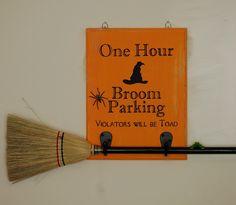 Cute Broom Parking Halloween Sign idea