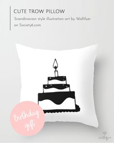 NEW cute birthday cake throw pillow perfect for Scandinavian styled kid's rooms! Who can resist a brithday cake? (affiliate) . #throwpillow #affiliate #birthdaygift #kidsroom #nurserydecor #monochrome #Scandi