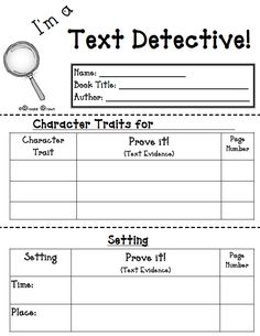 "a Text Detective!"" {FREE Reading Response Mini-booklet} Free graphic organizer: I'm a Text Detective {FREE Reading Response…Free graphic organizer: I'm a Text Detective {FREE Reading Response… Reading Strategies, Reading Skills, Teaching Reading, Reading Comprehension, Free Reading, Close Reading, Guided Reading Activities, Comprehension Worksheets, Reading Worksheets"