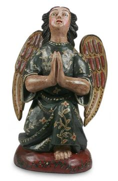 Guatemalan Handmade Angel Wood Sculpture - Angel of Hope | NOVICA