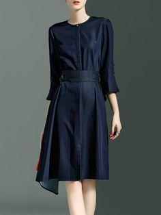 Blue Polyester Folds Simple A-line Midi Dress