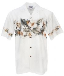 Big Hibiscus Palm Mens Hawaiian Aloha Shirt in White
