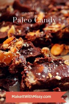 Decadent paleo candy without dairy or refined sugar. Just a few simple ingredients, including cacao powder, almond butter, coconut oil, and pure maple syrup.  These taste like brownies or fudge if you let them soften a bit after you take them out of the freezer. Otherwise, they taste like homemade candy bars.