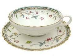 Jsaron Vintage Small Flower Tea Cup with Spoon and Saucer Set