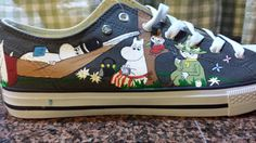 Moomin canvas hand painted custom customised by ShoeDoodles
