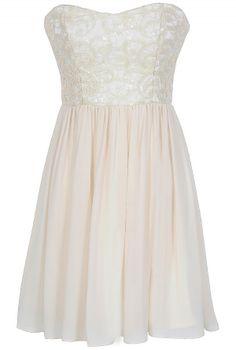 Translucent Lace Strapless Designer Dress in Ivory  www.lilyboutique.com