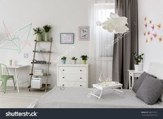 Modern white flat with office and bedroom combined and DIY decorations