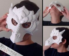 Dragons have always been my favorite of all fantasy creatures, so it was only natural that Id make a masquerade-style dragon half mask! This mask was sculpted with a lot of loving detail, completely covered with scales both large and small. It would look equally good with a realistic paint job, fanciful metallics, or bright, vivid colors. The mask comes with the eye holes already cut out, but you can also choose in the options if youd also like the nose holes cut out. This mask has a wide…