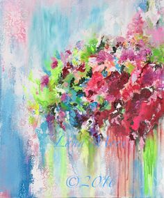 Secret Garden Original Abstract Floral Painting on by lanasfineart