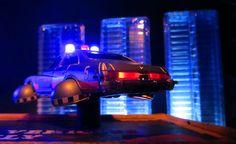 Corgi Toys Buick (Century) Regal Police Car No. 416 Converted Into A Futuristic Sci-Fi Hover Car : Diorama A Hover Police Car City Scene - 36 Of 98   by Kelvin64