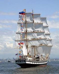 The Russian tall ship PALLADA is a 354 foot long three-masted frigate and is considered the world's fastest sailing ship, holding the record at 18.7 knots in the Sail Training International largest and most prestigious Class A.
