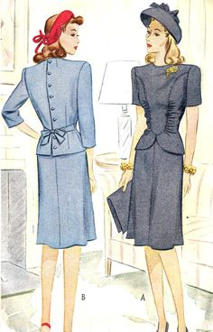 1940s Misses Two Piece Peplum Dress