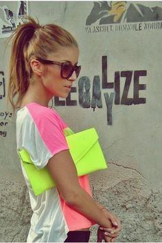 two tone tshirt and neon clutch