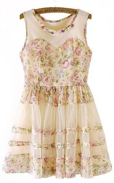 Floral Lace Dress <3 http://www.sheinside.com/Pink-Beige-Sleeveless-Floral-Flare-Lace-Dress-p-135434-cat-1727.html?medium=HardPin=Pinterest=type294=hardpin_type294