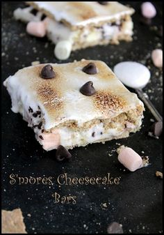 S'mores Cheesecake Bars ~     16 oz cream cheese, 1 C powdered sugar, 8 oz whipped cream, 1 t vanilla, 1 C mini marshmallows, 1 C chocolate chips, 14 to 16 graham crackers, 4 oz marshmallow fluff.  Mix cream cheese, sugar - chocolate chips; layer half crackers in foil lined 9x9 pan; spoon in filling; layer crackers; freeze 4 hr; spread on fluff and toast with kitchen torch.