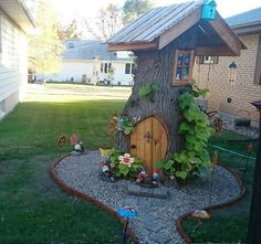 Tree Stump Fairy and Gnome house! Creative ways to add color and joy to a garden, porch, or yard with DIY Yard Art and Garden Ideas!