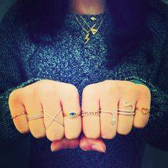 Multiple Rings Ear Chain, Multiple Rings, Fingers, Piercings, Bronze, Bling, Jewels, Tattoos, Bracelets