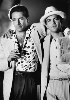 Armand Assante & Antonio Banderas in 'The Mambo Kings', 1992 Armand Assante, Beautiful Men, Beautiful People, Old Hollywood Movies, Hooray For Hollywood, Raining Men, Handsome Actors, Iconic Characters, Black And White Pictures