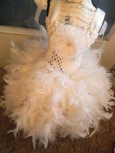Flower Girl Feather Tutu Dress  Tutu Dress  by SophiasTutuBoutique, $44.99