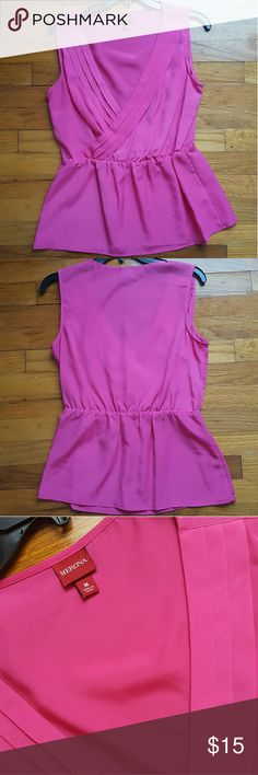 Pink flowy top *Never used, was to big for me* *True color shows in third picture* *100% poyester* *Purchased from Target* Merona Tops Blouses