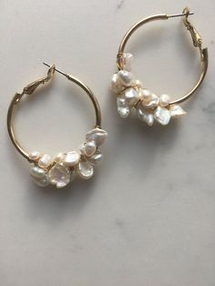 Freshwater Pearl Hoops Pearl Earrings aka bridesmaid hoop option, all earrings will be pearls or have pearls in them - simple is best but if the girls find something unique they can wear them Tiffany Jewelry, Gold Jewelry, Jewelery, Fine Jewelry, Jewelry Making, Jewellery Box, Gold Bracelets, Oxidised Jewellery, Jewellery Shops