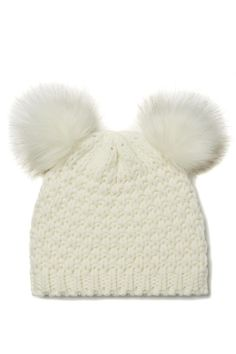 White knitted beanie with 2 faux fur pom poms to make you look like a little koala