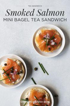 Smoked Salmon Mini Bagel Tea Sandwich recipe