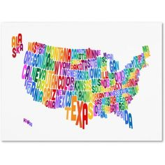 Trademark Art 'usa States Text Map 3' Canvas Art by Michael Tompsett, Size: 22 x 32, Multicolor