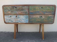 Bali Furniture Recycled Boat Retro TV Oval Sideboard Dresser Chest of 4 Drawers