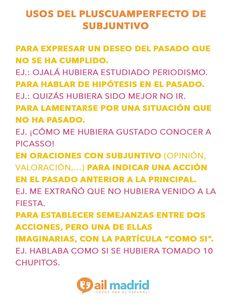 Usos del pluscuamperfecto de subjuntivo. ¡Mira las reglas para saber tus conocimientos! --- Uses of the subjunctive pluscuamperfecto. Look at the rules to improve your understanding!