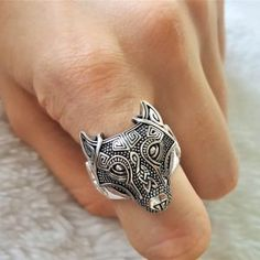 This beautiful Fenrir Wolf Ring has been Fabulously casted Sterling Silver. Ring weighs 11 grams depending on size. Wolf Jewelry, Viking Jewelry, Unique Ring Designs, Unique Rings, Animal Rings, Sterling Silver Rings, Engraving Services, Pure Products, Bangkok Thailand