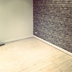 Love my fake brick wall, and sanded the floor. Fake Brick Wall, Brick Paneling, Home Health, Diy Home Improvement, Diy Design, Home Goods, Interior Decorating, House Design, Flooring