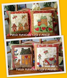 Patchwork Quilt, Patchwork Cushion, Quilted Pillow, Mini Quilts, Baby Quilts, Applique Embroidery Designs, Applique Patterns, Quilt Patterns, Applique Cushions