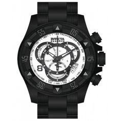 Invicta 80628 Mens Watch Excursion Chronograph White Dial Black Black Ion-plated