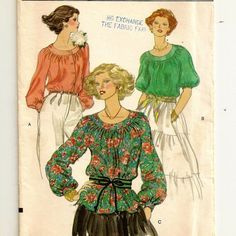 Vogue Blouse Pattern  Uncut  Size 12 Bust 34 by SoSewSome on Etsy, $4.00