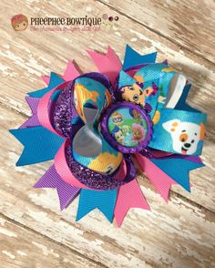 Bubble Guppies OTT Loopie Hair Bow - Perfect for Infants, Toddlers, Big Girls - Baby Headband, Pink, Purple, Turquoise on Etsy, $8.50
