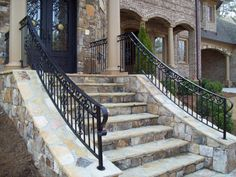 Porch step rails… I like these. Porch Step Railing, Front Porch Remodel, Front Porch Railings, Front Stairs, Porch Doors, Front Porch Design, Porch Steps, Stair Railing, Cable Railing