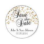 Save the Date in White Satin Gold Dots Classic Round Sticker #weddinginspiration #wedding #weddinginvitions #weddingideas #bride