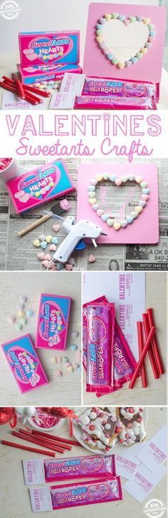 """Celebrate all things love by making a super sweet Valentine's Day photo frame craft with Nestle SweeTARTS Hearts and SweeTARTS Soft & Chewy Ropes. Nothing says """"I love you"""" more than a thoughtful handmade gift! My Funny Valentine, Valentine Crafts For Kids, Homemade Valentines, Valentine Ideas, Valentine Recipes, Valentine Activities, Valentine Day Photo Frame, Valentines Day Photos, Valentines Day Party"""