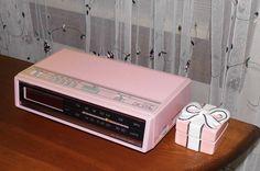 Vintage Retro Pink AM FM Radio Alarm Clock Bedroom Kitchen Counter. 14.95 USD, via Etsy.